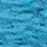 Het ontwerp die van de Painterlytextuur op een ondiepte van vissen lijken Naadloos vectorpatroon in diverse tinten van blauw op d stock illustratie