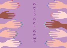 Het ontwerp en de kunst van de kleurenspijker met de illustratie van vijf manicurehanden Stock Afbeelding