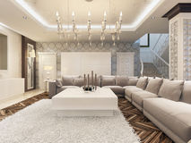 Het ontwerp heldere woonkamer van het luxeart deco met grote