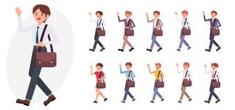 Het ontwerp mannelijke van de van het bedrijfs beeldverhaalkarakter de handgroet mensengolf vector illustratie