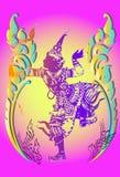 De Thaise tempel van de verfmuurschildering Royalty-vrije Stock Fotografie