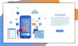 Het Ontwerp mobiele toepassing van de Bedrijfskalendersoftware royalty-vrije illustratie