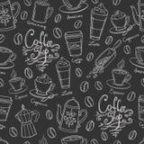Het ontwerp naadloos patroon van de koffiewinkel Stock Afbeeldingen
