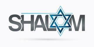 Het ontwerp Shalom van de Shalomtekst is een Hebreeuws woord die vrede betekenen, hello en vaarwel stock illustratie
