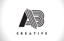 Het Ontwerp van ab Logo Letter With Black Lines Lijnbrief Vectorillus Stock Fotografie