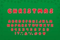 Het ontwerp van alfabetkerstmis Letters, getallen en leestekens Eps 10 stock fotografie