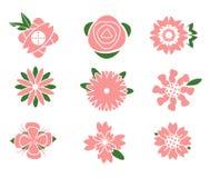 Het ontwerp van bloempictogrammen Stock Illustratie