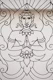Het ontwerp van Boedha in venster in Wat Suan Dok, Chiang Mai, Thailand Stock Foto's