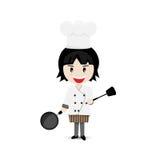 Het Ontwerp van Cartoon Character Vector van de meisjeschef-kok vector illustratie