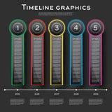 Het Ontwerp van chronologieinfographics met Vijf Opties Stock Foto