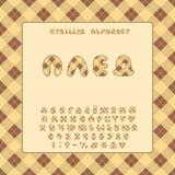 Het ontwerp van de alfabetplaid Russische Letters, getallen en leestekens Eps 10 stock afbeelding