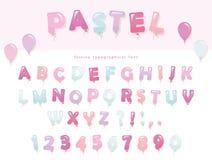 Het ontwerp van de ballondoopvont in pastelkleuren De de leuke letters en getallen van ABC Voor verjaardag, de viering van de bab Stock Foto's