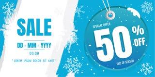 Het ontwerp van het de bannermalplaatje van de de winterverkoop Sneeuwvlok De kristallen van het ijs Se vector illustratie