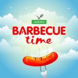 Het ontwerp van de barbecuepartij, Barbecueuitnodiging Barbecueembleem BBQ het ontwerp van het malplaatjemenu r o Stock Fotografie