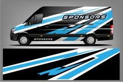 Het ontwerp van de bestelwagenomslag Omslag, sticker en overdrukplaatjeontwerp voor bedrijf Vector formaat stock illustratie