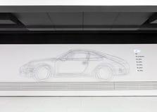 Het Ontwerp van de blauwdrukschets van Auto 356 in Porsche-Museum Stock Afbeelding