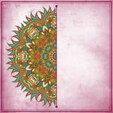 Het ontwerp van de bloemcirkel op grungeachtergrond Royalty-vrije Stock Foto