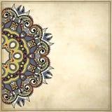 Het ontwerp van de bloemcirkel op grungeachtergrond Stock Afbeelding