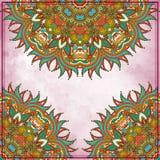 Het ontwerp van de bloemcirkel op grungeachtergrond met Royalty-vrije Stock Foto's