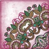 Het ontwerp van de bloemcirkel op grungeachtergrond met Stock Foto