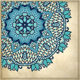 Het ontwerp van de bloemcirkel op grungeachtergrond met Royalty-vrije Stock Fotografie