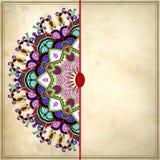 Het ontwerp van de bloemcirkel op grungeachtergrond met Stock Afbeelding
