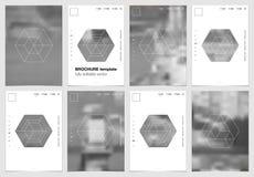 A4 het ontwerp van de brochuredekking met geometrische vormen en maskers in modern Stock Foto