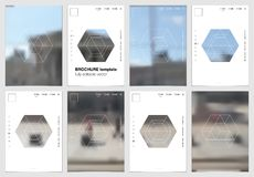 A4 het ontwerp van de brochuredekking met geometrische vormen en maskers in moderne minimalistic stijl Creatief jaarlijks vlieger Stock Fotografie