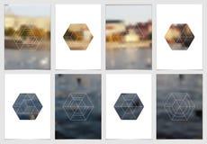 A4 het ontwerp van de brochuredekking met geometrische vormen en maskers in moderne minimalistic stijl Creatief jaarlijks vlieger Royalty-vrije Stock Foto
