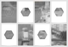 A4 het ontwerp van de brochuredekking met geometrische vormen en maskers in moderne minimalistic stijl Creatief jaarlijks vlieger Royalty-vrije Stock Foto's