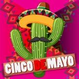 Het ontwerp van de Cincode Mayo affiche met cactus die hoed dragen