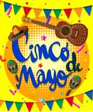 Het ontwerp van de Cincode Mayo affiche met gitaar en vlaggen