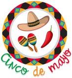 Het ontwerp van de Cincode Mayo affiche met hoed en maracas