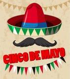 Het ontwerp van de Cincode Mayo affiche met Mexicaanse hoed