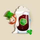 Het ontwerp van de Dag van heilige Patricks met donker bier Stock Foto