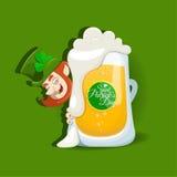 Het ontwerp van de Dag van heilige Patricks met licht bier Royalty-vrije Stock Afbeelding