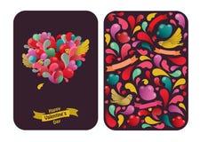 Het ontwerp van de Dagkaarten van mooi Valentine met abstracte hart en vogels op donkere achtergrond Stock Fotografie