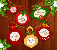 Het ontwerp van de de groetkaart van Kerstmis en van het Nieuwjaar royalty-vrije illustratie