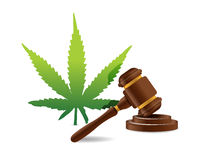 het ontwerp van de de hamerillustratie van de marihuanawet Royalty-vrije Stock Afbeelding