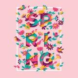 Het ontwerp van de de lentetypografie met vierkant kader Stock Afbeelding