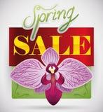 Het Ontwerp van de de lenteverkoop met een Mooie Orchidee, Vectorillustratie stock illustratie