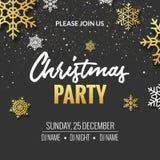 Het ontwerp van de de uitnodigingsaffiche van de Kerstmispartij Retro gouden typografie royalty-vrije illustratie