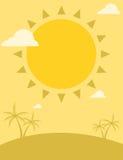 Het ontwerp van de de zomervlieger met zon en palmen Stock Foto's
