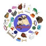Het ontwerp van de dierenwinkelaffiche met vele huisdieren en toebehoren vectorillustratie royalty-vrije illustratie