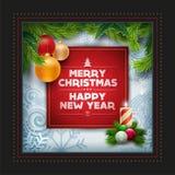 Het ontwerp van de de groetkaart van Kerstmis Stock Afbeeldingen