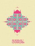 Het ontwerp van de groetkaart met Arabische teksten voor Eid Royalty-vrije Stock Foto's