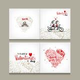 Het ontwerp van de groetkaart, valentijnskaartdag Stock Foto