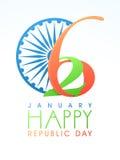 Het ontwerp van de groetkaart voor de Gelukkige Indische Dag van de Republiek Stock Foto