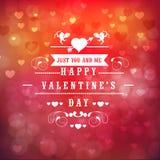 Het ontwerp van de groetkaart voor de Gelukkige viering van de Valentijnskaartendag Royalty-vrije Stock Foto