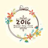 Het ontwerp van de groetkaart voor Gelukkig Nieuwjaar 2016 Stock Foto's